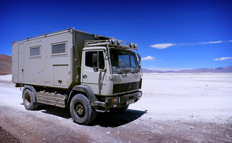 Overland truck on Chile/Bolivia border
