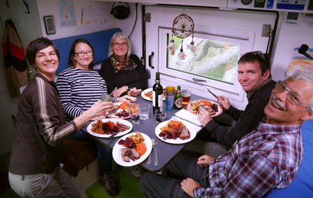 Christmas dinner in Ushuaia, overland camping
