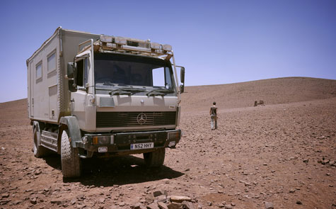 expedition camper truck in Morocco